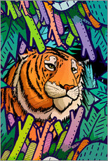 Wall sticker  Tiger in the undergrowth - Stephen Wade