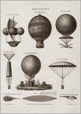 Gallery print  Illustration of early hot air balloon designs - John Parrot
