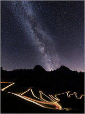 Gallery print  Milky Way and street lights on the Stelvio Pass - Roberto Moiola