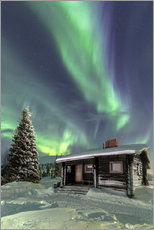 Gallery Print  Northern Lights frame a wooden hat - Roberto Moiola