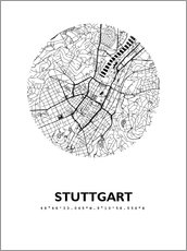 Wall sticker City map of Stuttgart