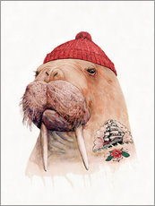 Gallery Print  Tattooed walrus with red cap - Animal Crew