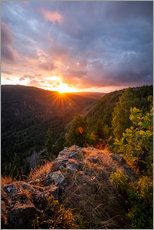 Gallery Print  Dramatic sunset on a cliff in the Harz - Oliver Henze
