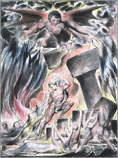 Gallery print  jobs sons and daughters overwhelmed by satan - William Blake