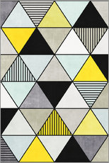 Wall sticker Colorful Concrete Triangles 2 - Yellow, Blue, Grey