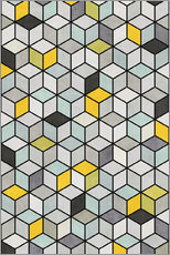Wall sticker  Colorful Concrete Cubes - Yellow, Blue, Gray - Zoltan Ratko