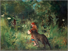 Gallery print  Little Red Riding Hood and the Wolf - Carl Larsson
