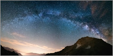 Gallery Print  Milky Way arch and starry sky on the Alps. Panoramic view - Fabio Lamanna