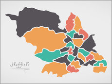 Wall sticker Sheffield city map modern abstract with round shapes