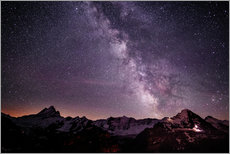 Gallery print  Nightscape mountain panorama with Schreckhorn Fiescherhorn and Eiger view from First, Grindelwald, - Peter Wey