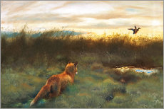Gallery print  Fox and duck - Bruno Andreas Liljefors