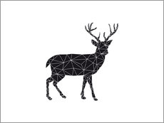 Wall sticker  Black deer - Nouveau Prints