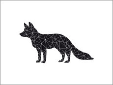 Wall sticker  Black fox - Nouveau Prints