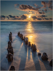 Wall Sticker  Groyne on Sylt with sunset - Heiko Mundel