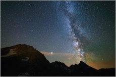Wall sticker  Night sky, Milky way galaxy stars over the Alps, Mars and Jupiter planet, snowcapped mountain - Fabio Lamanna