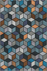 Wall sticker  Colorful Concrete Cubes Blue Grey Brown - Zoltan Ratko