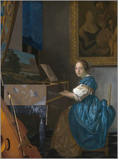 Wall sticker  young woman seated at a virginal - Jan Vermeer