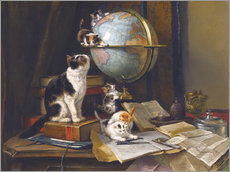 Wall sticker A cat with a globe