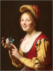 Wall sticker  Smiling Girl, a Courtesan, Holding an Obscene - Gerrit van Honthorst