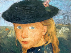 Gallery print  Head of a little girl with straw hat - Paula Modersohn-Becker