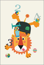 Wall Sticker  Colourful counting lion - Jaysanstudio