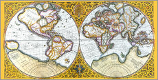 Wall sticker  World map around 1587 - Gerardo Mercatore