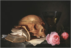 Wall Sticker  A Vanitas Still Life with a Skull, a Book and Roses - Jan Davidsz de Heem