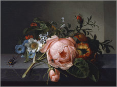 Wall sticker  Still Life with Rose Branch, Beetle and Bee - Rachel Ruysch