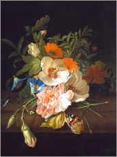 Gallery print  Floral still life with butterflies on a stone bench - Rachel Ruysch