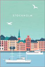 Aluminium print  Illustration of Stockholm - Katinka Reinke