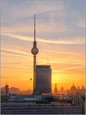 Premium poster Berlin TV tower at sunset