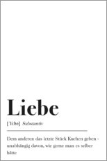 Wood print  Liebe Definition (German) - Pulse of Art