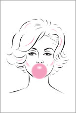 Canvas  Marilyn Monroe with chewing gum - Martina illustration