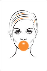 Alu-Dibond  Twiggy with bubble gum - Martina illustration