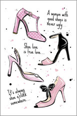 Martina illustration - Pink Shoes Quote
