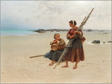 Canvas print  Oyster picking, Brittany - August Hagborg
