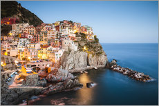 Premium poster Manarola at night, Cinque Terre, Italy