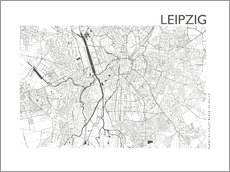 Canvas print  Leipzig map in steel gray - 44spaces
