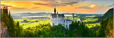 Premium poster  Neuschwanstein in the sunset - Art Couture
