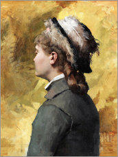 Gallery print  Young woman in gray - Albert Edelfelt