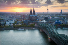 Premium poster  Sunset over Cologne - Martin Wasilewski