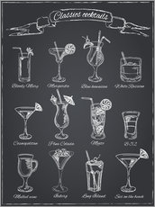 Wood print  Classic cocktails - Typobox