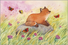Canvas  Fox with butterflies - Michelle Beech