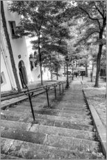 Wood print  Endless steps to Montmartre
