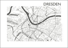 Canvas print  City map of Dresden - 44spaces