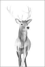 Acrylic print  Deer (black and white) - Goed Blauw
