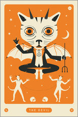 Foam board print  THE DEVIL TAROT CARD CAT - Jazzberry Blue