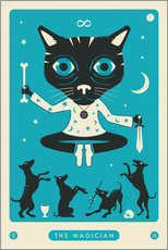 Aluminium print  THE MAGICIAN TAROT CARD CAT - Jazzberry Blue