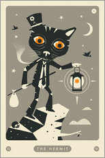 Acrylic print  THE HERMIT TAROT CARD CAT - Jazzberry Blue