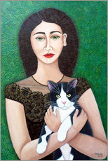 Premium poster  Woman with cat soul - Madalena Lobao-Tello